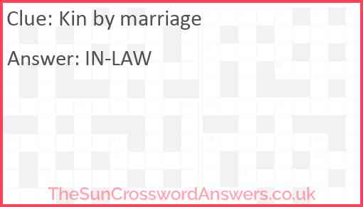 Kin by marriage Answer