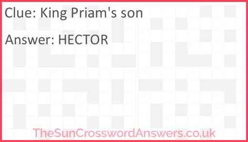 King Priam's son Answer