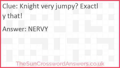 Knight very jumpy? Exactly that! Answer