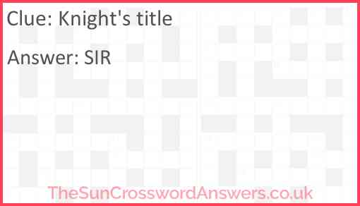 Knight's title Answer