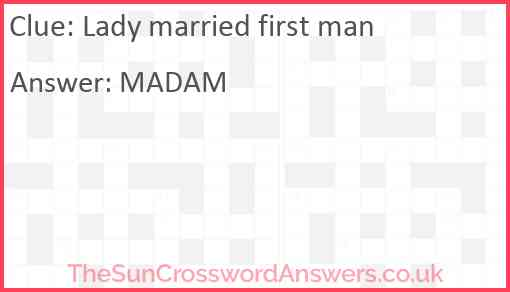 Lady married first man Answer