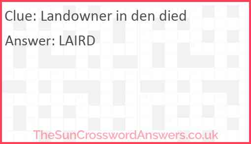 Landowner in den died Answer
