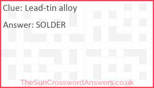 Lead-tin alloy Answer