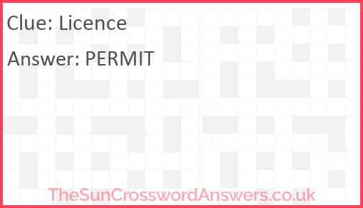 Licence Answer