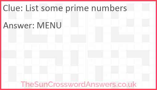List some prime numbers Answer