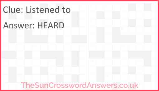 Listened to Answer