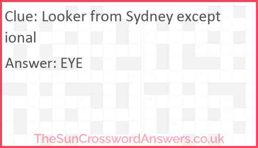 Looker from Sydney exceptional Answer