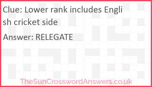 Lower rank includes English cricket side Answer
