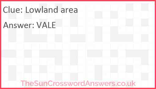 Lowland area Answer