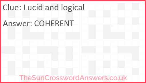 Lucid and logical Answer