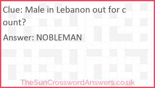 Male in Lebanon out for count? Answer