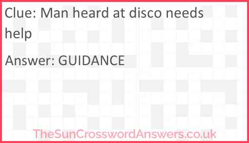 Man heard at disco needs help Answer