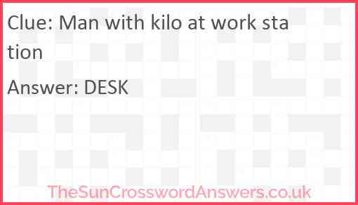 Man with kilo at work station Answer