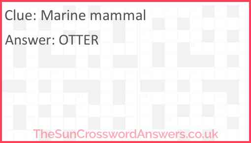Marine mammal Answer