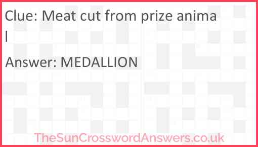 Meat cut from prize animal Answer