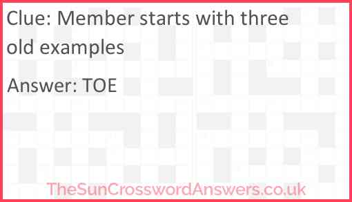 Member starts with three old examples Answer