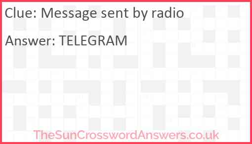 Message sent by radio Answer