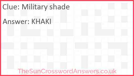 Military shade Answer