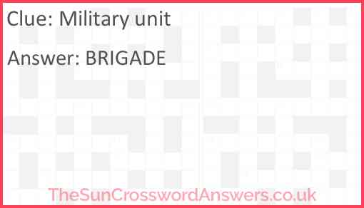 Military unit Answer