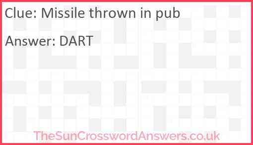 Missile thrown in pub Answer