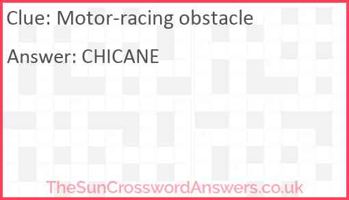Motor-racing obstacle Answer