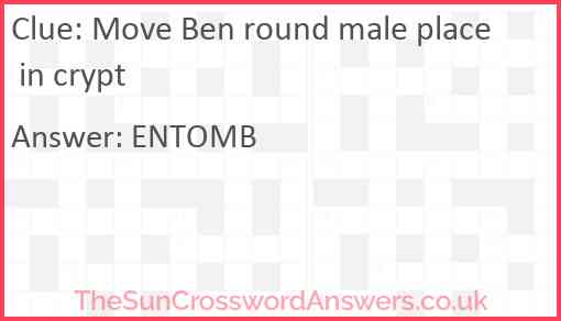 Move Ben round male place in crypt Answer