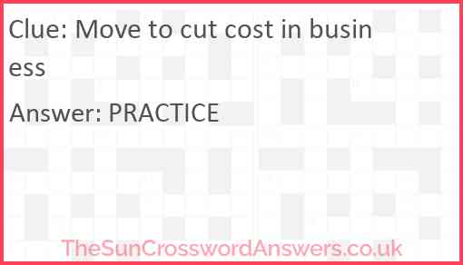Move to cut cost in business Answer