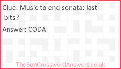 Music to end sonata: last bits? Answer
