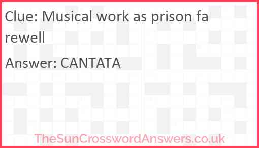 Musical work as prison farewell Answer