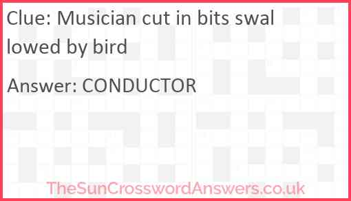 Musician cut in bits swallowed by bird Answer