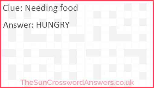 Needing food Answer