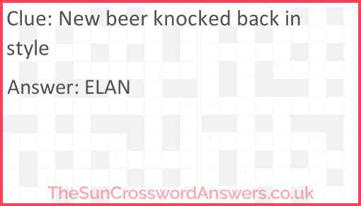 New beer knocked back in style Answer