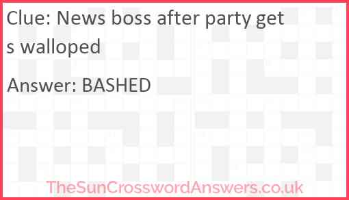 News boss after party gets walloped Answer