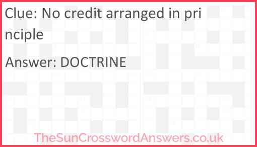 No credit arranged in principle Answer