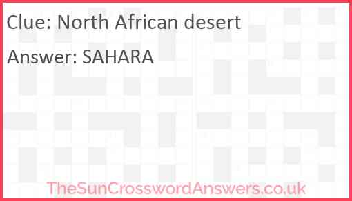 North African desert Answer