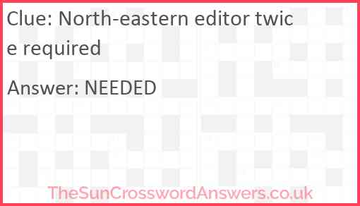 North-eastern editor twice required Answer