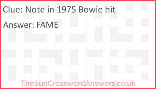 Note in 1975 Bowie hit Answer