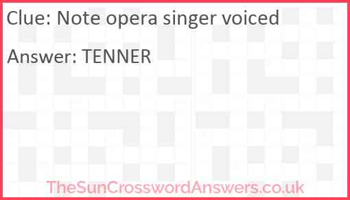 Note opera singer voiced Answer