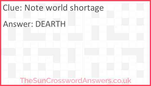 Note world shortage Answer
