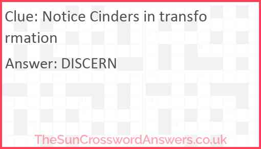 Notice Cinders in transformation Answer