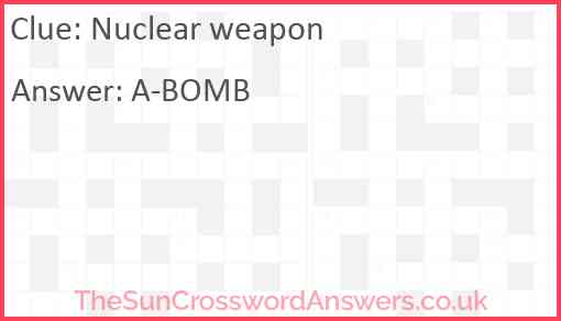 Nuclear weapon Answer