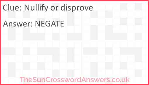 Nullify or disprove Answer