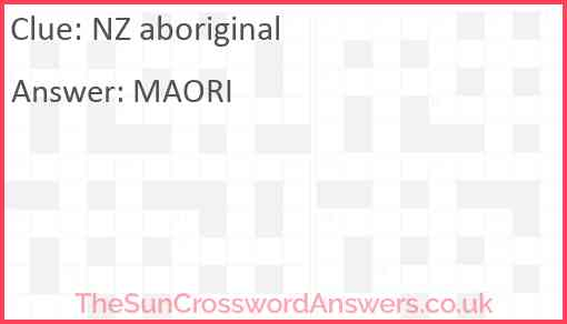 NZ aboriginal Answer