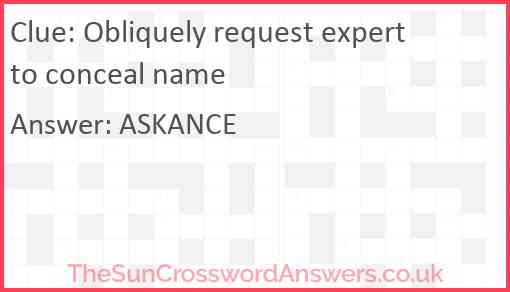 Obliquely request expert to conceal name Answer