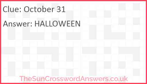 October 31 Answer
