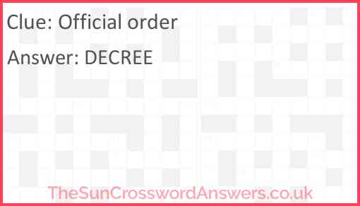 Official order Answer