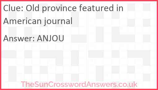 Old province featured in American journal Answer