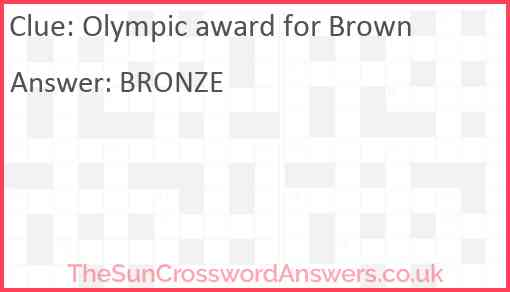 Olympic award for Brown Answer
