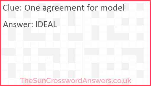 One agreement for model Answer