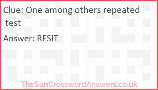 One among others repeated test Answer